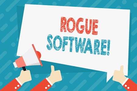 Text sign showing Rogue Software. Business photo showcasing type of malware that poses as antimalware software Hand Holding Megaphone and Other Two Gesturing Thumbs Up with Text Balloon