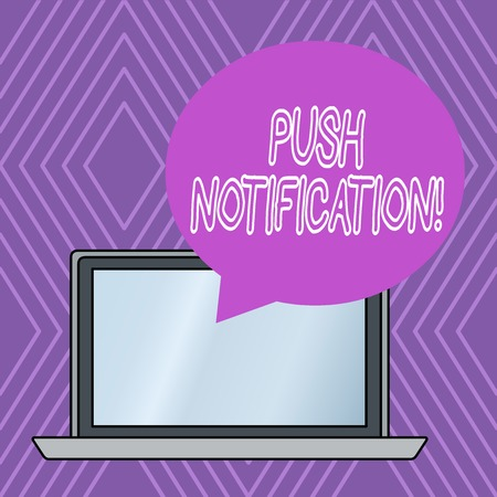 Writing note showing Push Notification. Business concept for automated message sent by an application to a user