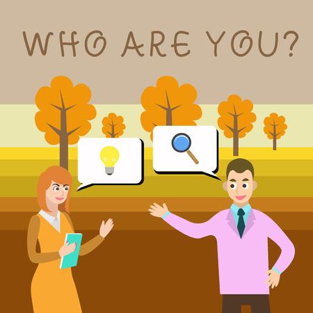 Schreiben Sie eine Notiz mit der Frage, wer Sie sind. Geschäftskonzept für die Aufforderung zum Nachweis von Identität oder demonstrierenden Informationen