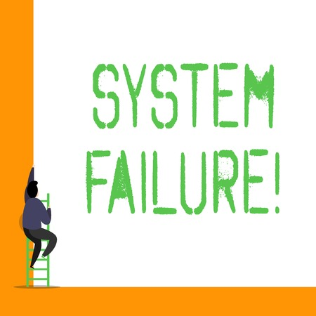 Word writing text System Failure. Business photo showcasing Occur because of a hardware failure or a software issue
