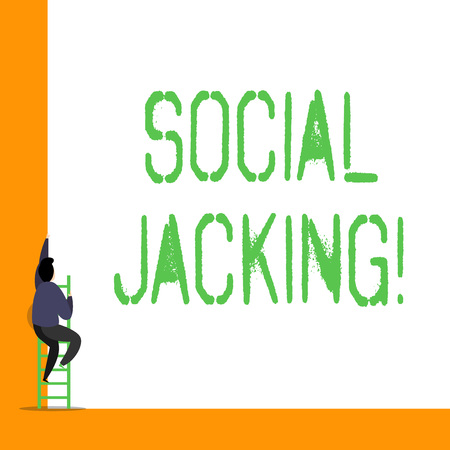Word writing text Social Jacking. Business photo showcasing Spiteful method tricking the user to click vulnerable buttons Stock Photo
