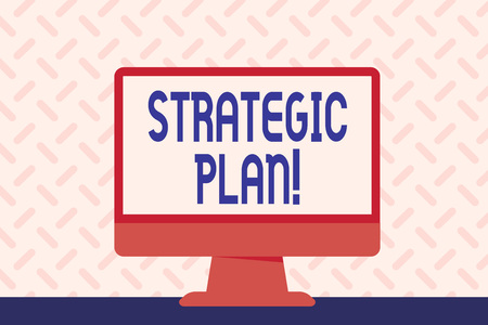 Text sign showing Strategic Plan. Business photo showcasing analysisagement activity that is used to set and focus priorities Blank Space Desktop Computer Colorful Monitor Screen Freestanding on Table Imagens