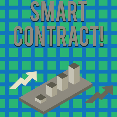Text sign showing Smart Contract. Business photo text the computer protocol running on top of a block chain Colorful Clustered 3D Bar Chart Graph Diagram in Perspective with Two Arrows