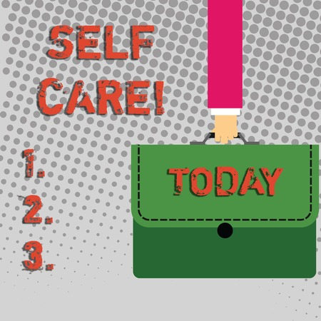 Handwriting text Self Care. Conceptual photo practice of taking action to preserve or improve ones own health Businessman Hand Carrying Colorful Briefcase Portfolio with Stitch Applique