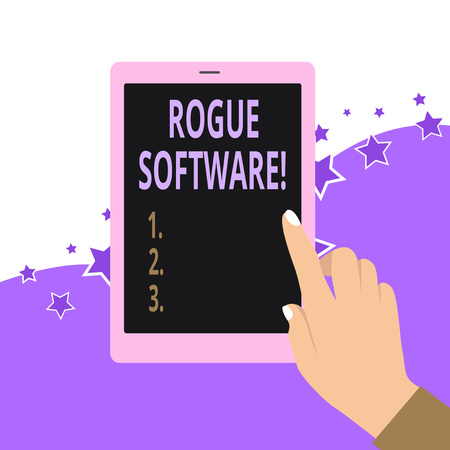 Handwriting text Rogue Software. Conceptual photo type of malware that poses as antimalware software Standard-Bild