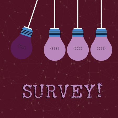 Text sign showing Survey. Business photo text research method used for collecting data from a predefined group Color Incandescent Pendant Bulb Hanging with One Different Shade Lightbulb