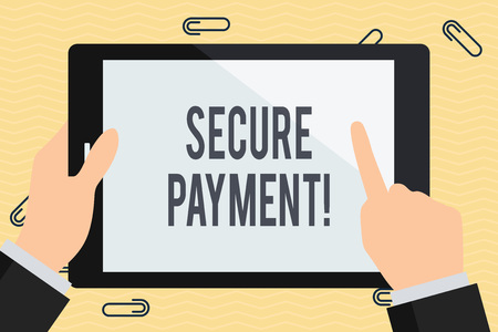 Conceptual hand writing showing Secure Payment. Concept meaning webpage where credit card numbers are entered is secured Businessman Hand Holding and Pointing Colorful Tablet Screen