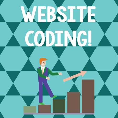 Word writing text Website Coding. Business photo showcasing system of symbols and rules used to represent instructions Smiling Businessman Climbing Colorful Bar Chart Following an Arrow Going Up