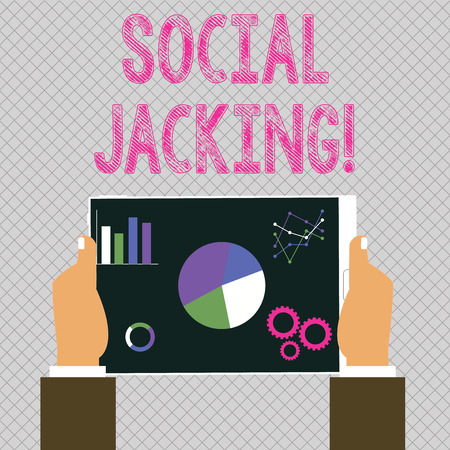 Conceptual hand writing showing Social Jacking. Concept meaning Spiteful method tricking the user to click vulnerable buttons Hands Holding Tablet with Search Engine Optimization Screen