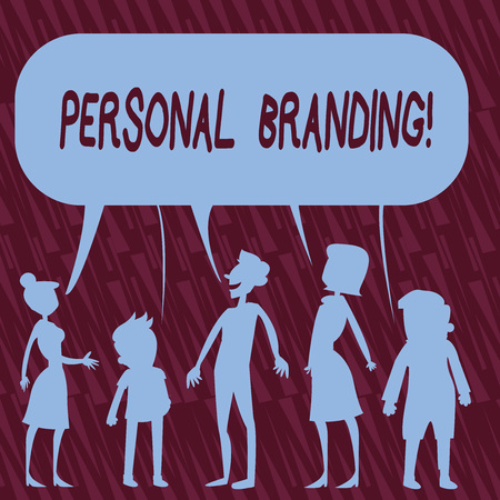Text sign showing Personal Branding. Business photo text process of creating a recognizable professional name Silhouette Figure of People Talking and Sharing One Colorful Speech Bubble Imagens