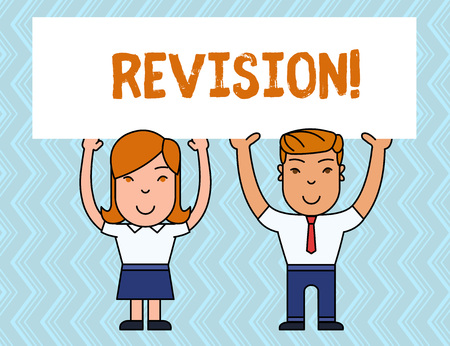 Writing note showing Revision. Business concept for action of revising over someone like auditing or accounting