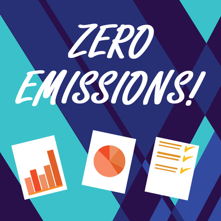 Handwriting text writing Zero Emissions. Conceptual photo emits no waste products that pollute the environment Presentation of Bar, Data and Pie Chart Diagram Graph Each on White Paper