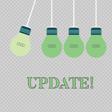 Handwriting text writing UPDATE. Conceptual photo make something more modern or up to date like software program Color Incandescent Pendant Bulb Hanging with One Different Shade Lightbulb