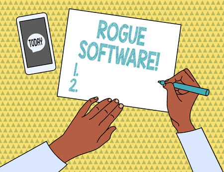 Word writing text Rogue Software. Business photo showcasing type of malware that poses as antimalware software