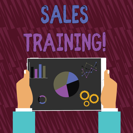 Text sign showing Sales Training. Business photo text train salesshowing the methods of great sales techniques Hands Holding Tablet with Search Engine Optimization Driver Icons on Screen
