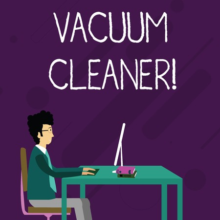 Conceptual hand writing showing Vacuum Cleaner. Concept meaning machine that cleans floors and surfaces by sucking up dust Businessman Sitting on Chair Working on Computer and Books