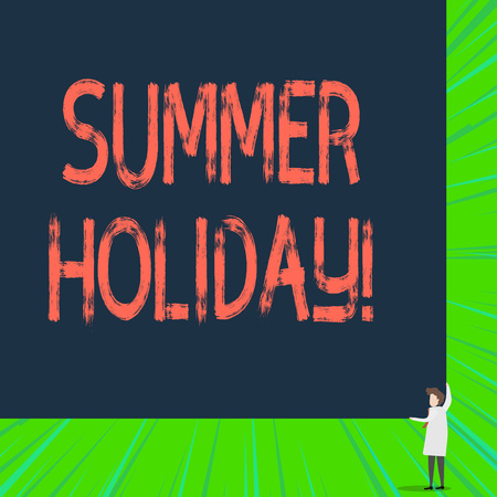 Writing note showing Summer Holiday. Business concept for Vacation during the summer season School holiday or break Zdjęcie Seryjne - 122568264