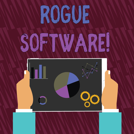 Text sign showing Rogue Software. Business photo text type of malware that poses as antimalware software Hands Holding Tablet with Search Engine Optimization Driver Icons on Screen