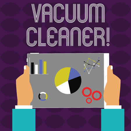 Conceptual hand writing showing Vacuum Cleaner. Concept meaning machine that cleans floors and surfaces by sucking up dust Hands Holding Tablet with Search Engine Optimization on the Screen
