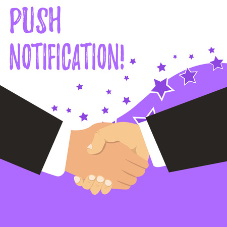 Text sign showing Push Notification. Business photo showcasing automated message sent by an application to a user
