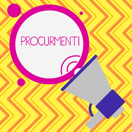 Writing note showing Procurment. Business concept for action of acquiring military equipment and supplies