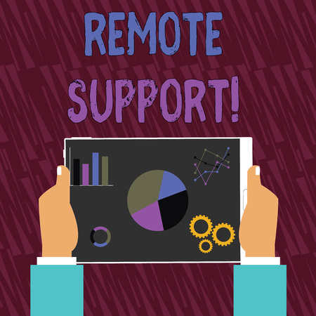 Text sign showing Remote Support. Business photo text help endusers to solve computer problems and issues remotely Hands Holding Tablet with Search Engine Optimization Driver Icons on Screen