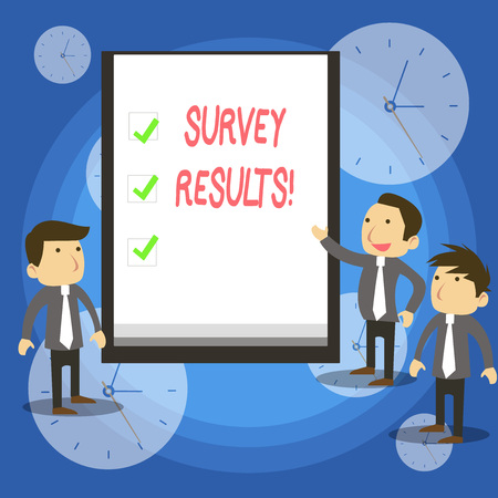 Text sign showing Survey Results. Business photo showcasing result of activity that collects or acquires statistical data
