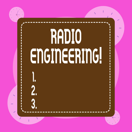 Conceptual hand writing showing Radio Engineering. Concept meaning Concerned with the operation and repair of radio equipment Banco de Imagens