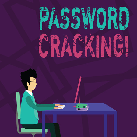 Handwriting text Password Cracking. Conceptual photo measures used to discover computer passwords from data Businessman Sitting Straight on Chair Working on Computer and Books on Table Foto de archivo