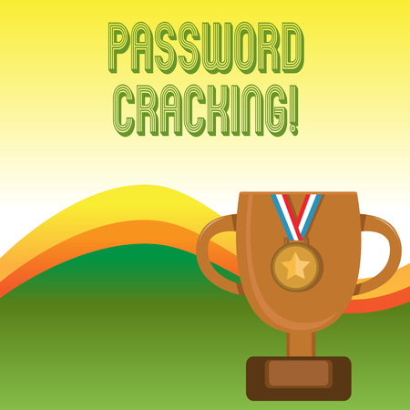 Text sign showing Password Cracking. Business photo showcasing measures used to discover computer passwords from data Stockfoto