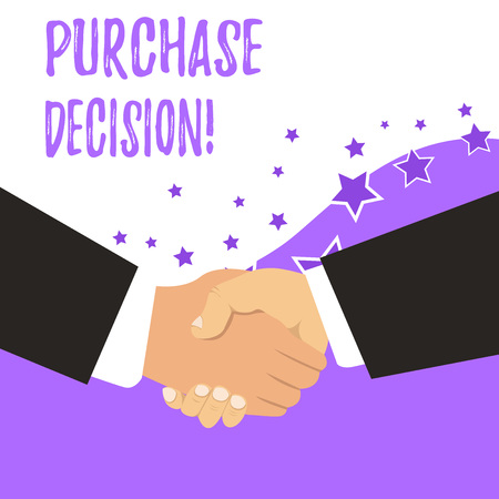 Text sign showing Purchase Decision. Business photo showcasing process that leads a consumer from identifying a need,