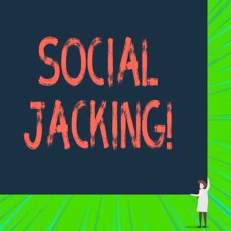 Writing note showing Social Jacking. Business concept for Spiteful method tricking the user to click vulnerable buttons Stock Photo - 122569426