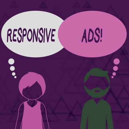 Writing note showing Responsive Ads. Business concept for Automatically adjust form and format to fit existing ad space Bearded Man and Woman with the Blank Colorful Thought Bubble