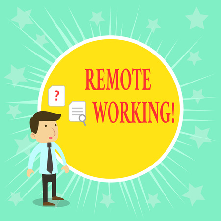 Word writing text Remote Working. Business photo showcasing situation in which an employee works mainly from home