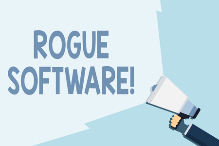 Writing note showing Rogue Software. Business concept for type of malware that poses as antimalware software Hand Holding Megaphone with Beam Extending the Volume Range
