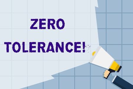 Conceptual hand writing showing Zero Tolerance. Concept meaning refusal to accept antisocial behaviour or improper behaviour Hand Holding Megaphone with Beam Extending the Volume Range