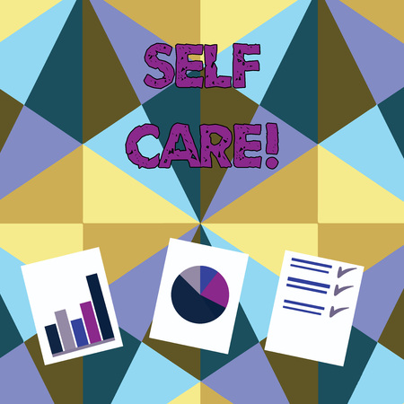 Handwriting text Self Care. Conceptual photo practice of taking action to preserve or improve ones own health Presentation of Bar, Data and Pie Chart Diagram Graph Each on White Paper