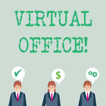 Word writing text Virtual Office. Business photo showcasing Mobile workenvironment equipped with telecommunication links Businessmen Each has their Own Speech Bubble with Optimization Cost Icons