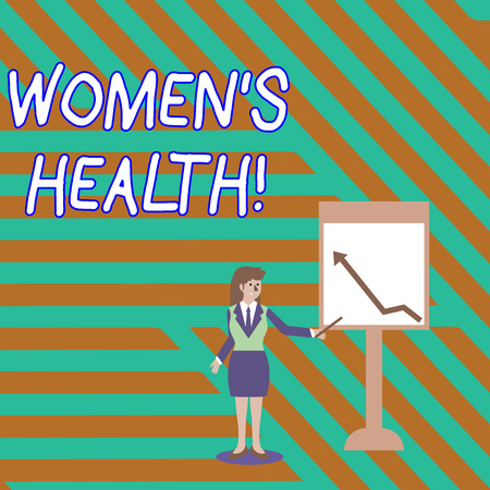 Word writing text Women S Is Health. Business photo showcasing the health issues specific to huanalysis anatomy Businesswoman Holding Stick Pointing to Chart of Arrow Upward on Whiteboard