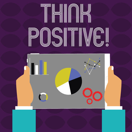Conceptual hand writing showing Think Positive. Concept meaning to believe that you are going to be succeed in your goal Hands Holding Tablet with Search Engine Optimization on the Screen