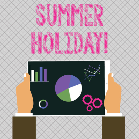 Conceptual hand writing showing Summer Holiday. Concept meaning Vacation during the summer season School holiday or break Hands Holding Tablet with Search Engine Optimization Screen Zdjęcie Seryjne - 122579178
