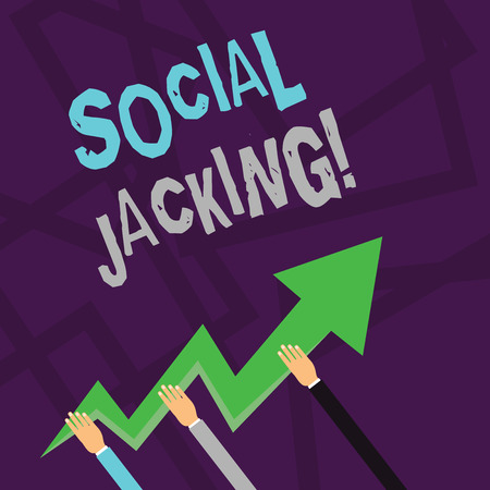 Text sign showing Social Jacking. Business photo text Spiteful method tricking the user to click vulnerable buttons Three Hands Holding Colorful Zigzag Lightning Arrow Pointing and Going Up