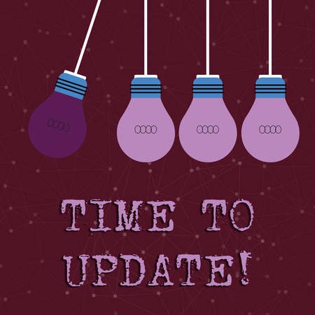 Text sign showing Time To Update. Business photo text act updating something someone or updated version program Color Incandescent Pendant Bulb Hanging with One Different Shade Lightbulb