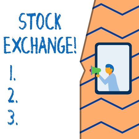 Conceptual hand writing showing Stock Exchange. Concept meaning the place where showing buy and sell stocks and shares Imagens