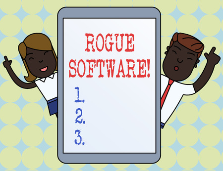 Writing note showing Rogue Software. Business concept for type of malware that poses as antimalware software Imagens