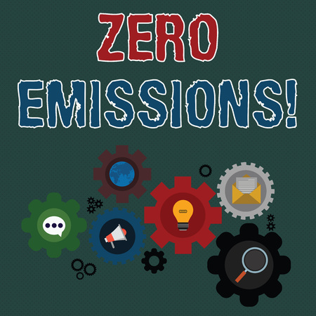 Writing note showing Zero Emissions. Business concept for emits no waste products that pollute the environment Set of Global Online Social Networking Icons Cog Wheel Gear