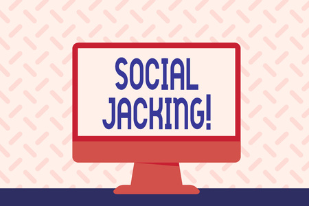 Text sign showing Social Jacking. Business photo showcasing Spiteful method tricking the user to click vulnerable buttons Blank Space Desktop Computer Colorful Monitor Screen Freestanding on Table Stock Photo - 122582483