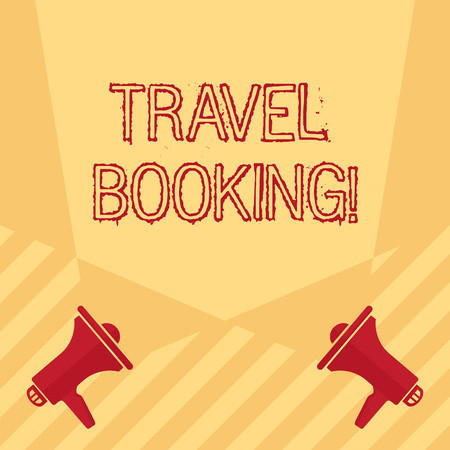 Handwriting text writing Travel Booking. Conceptual photo arrangement that you make when you book something for travel Blank Double Spotlight Crisscrossing Upward from Two Megaphones on the Floor