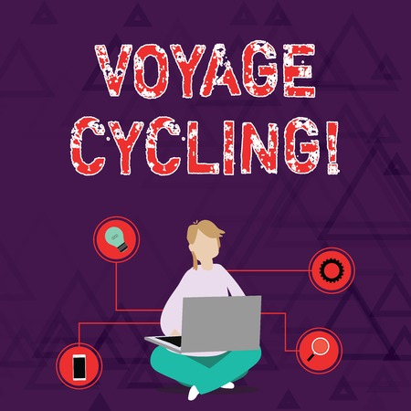 Conceptual hand writing showing Voyage Cycling. Concept meaning Use of bicycles for transport recreation and exercise Woman Sitting with Crossed Legs on Floor Browsing the Laptop