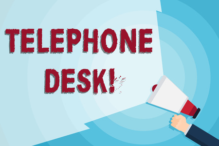 Word writing text Telephone Desk. Business photo showcasing provide a working surface enough to write notes while calling Hand Holding Megaphone with Blank Wide Beam for Extending the Volume Range
